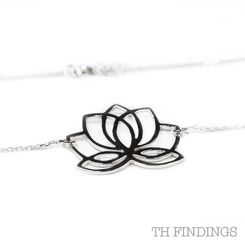 Sterling Silver 925 Lotus Flower Necklace