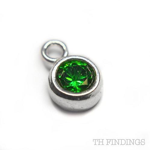 Sterling Silver 925 Emerald CZ May Birthstone Dropper