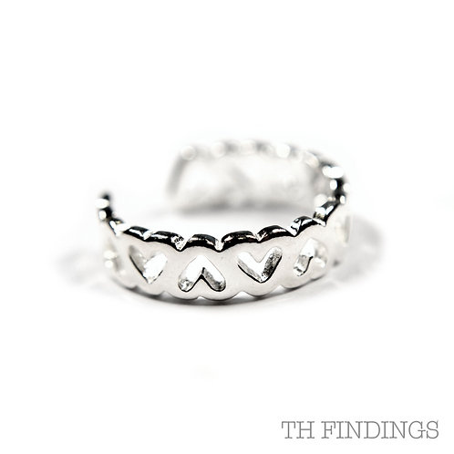 Sterling Silver 925 Heart Midi Adjustable Ring
