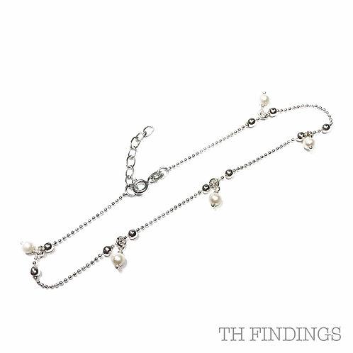 Sterling Silver 925 Hanging Pearl Adjustable Anklet