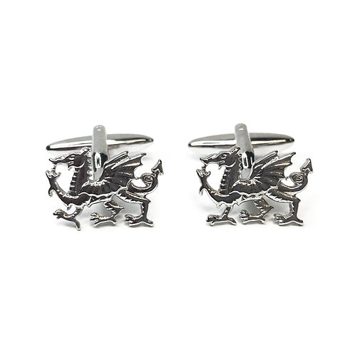 Boxed Silver Plated Welsh Dragon Cufflinks