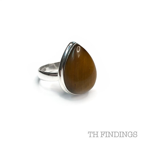 Tiger Eye Semi Precious Sterling Silver Ring