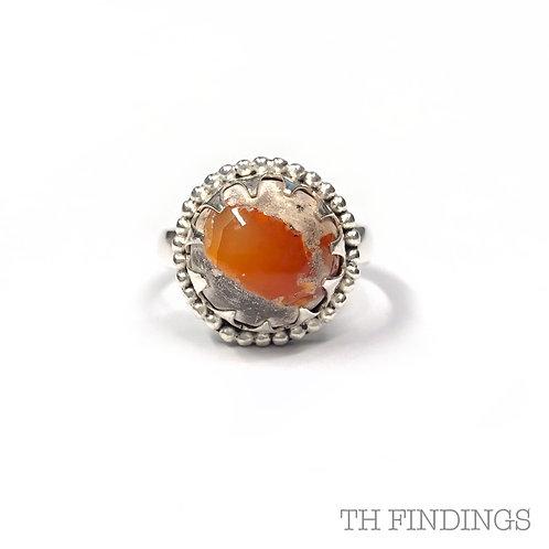 Agate & Carnelian Semi Precious Sterling Silver Ring