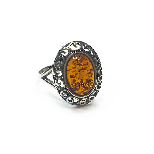 Sterling Silver 925 Amber Statement Ring