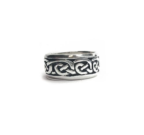 Sterling Silver 925 Antique Finish Chunky Celtic Ring