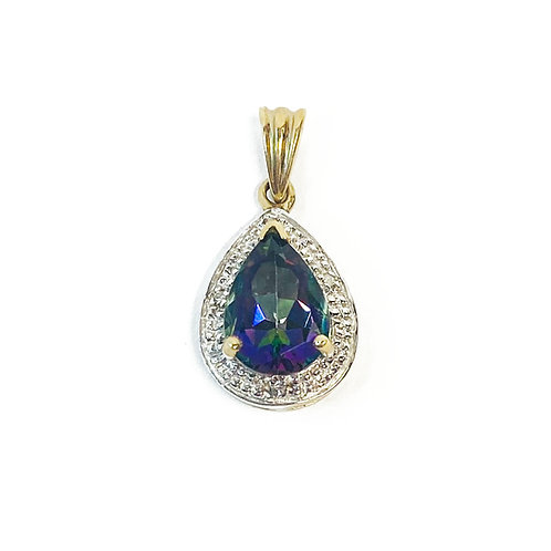 9ct Gold Green Mystic Topaz & Diamond Pendant