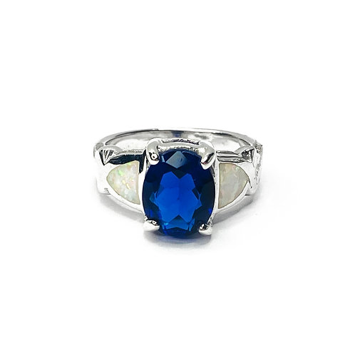 Synthetic Opal & Blue CZ Ring