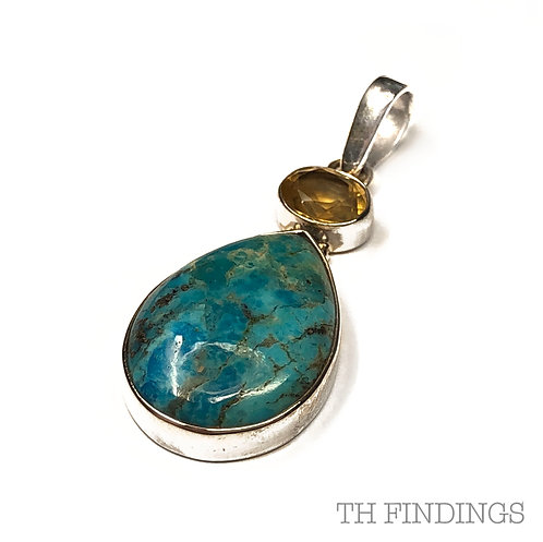 Turquoise & Polished Citrine, Semi Precious, Sterling Silver 925 Pendant