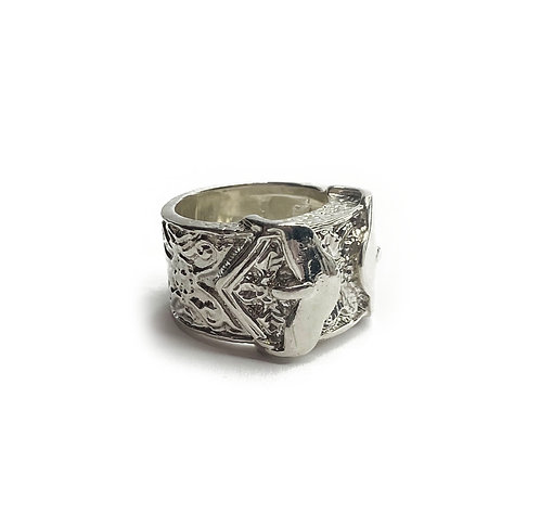 Sterling Silver 925 Heavyweight Cowboy Buckle Ring