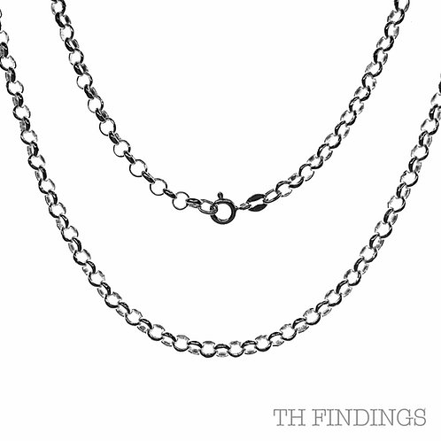 "Sterling Silver 925 20"" Medium Belcher Chain"