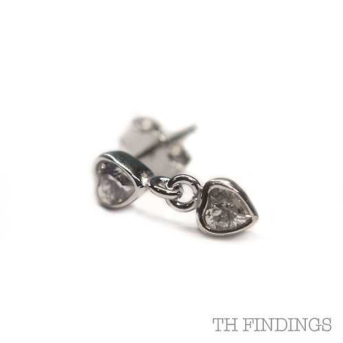 Sterling Silver 925 Rhodium Plated Cubic Zirconia Heart Earstuds
