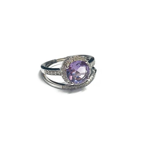 Sterling Silver 925 Amethyst CZ Halo Ring & Stacker Band