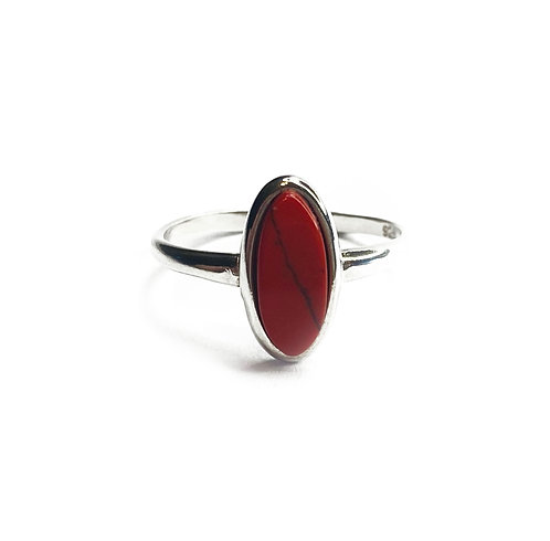 Sterling Silver 925 Red Jasper Oval Ring