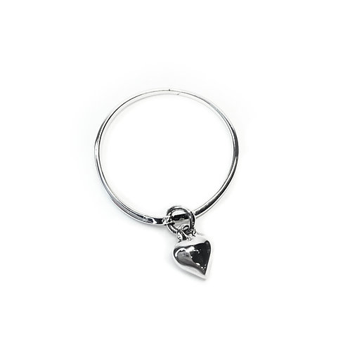 Sterling Silver 925 Heart Charm  Ring
