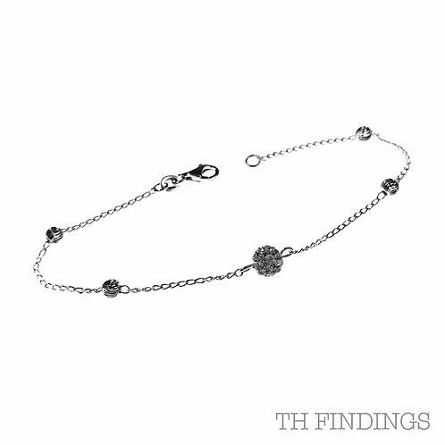 "Sterling Silver 925 7.5"" Sparkle Ball Bracelet"