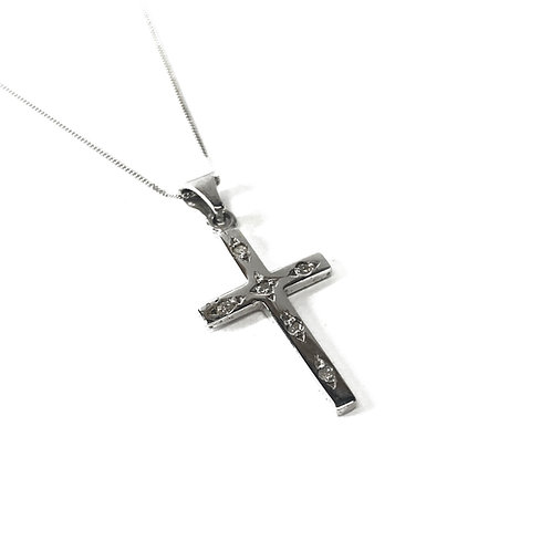 """9ct White Gold 18"""" Cross Necklace"""
