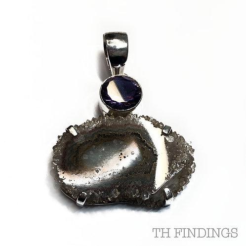 Amethyst & Agate Semi Precious, Sterling Silver Statement Pendant