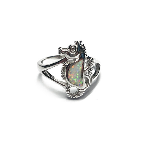 Sterling Silver 925 Iridescent Opal Seahorse Ring