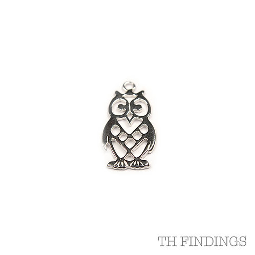 Sterling Silver 925 Stamped Owl Pendant