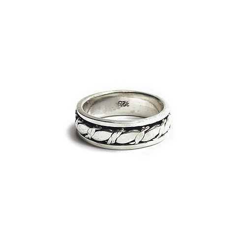 Sterling Silver 925 Antique Finish Spinner Nautical Rope Ring