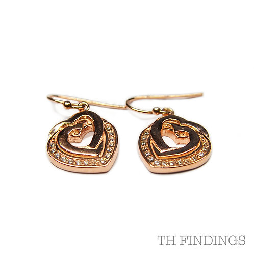 Sterling Silver 925 Rose Gold Plated Cubic Zirconia Heart Dropper Earrings