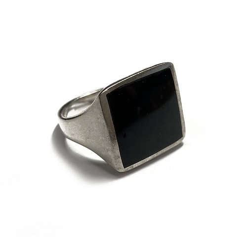 Sterling Silver 925 Size O Antique Finish 15mm Onyx Statement Ring