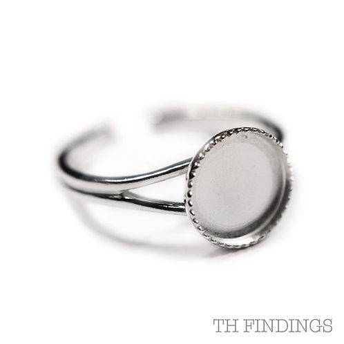 Sterling Silver 925 10mm Collet Adjustable Ring Shank