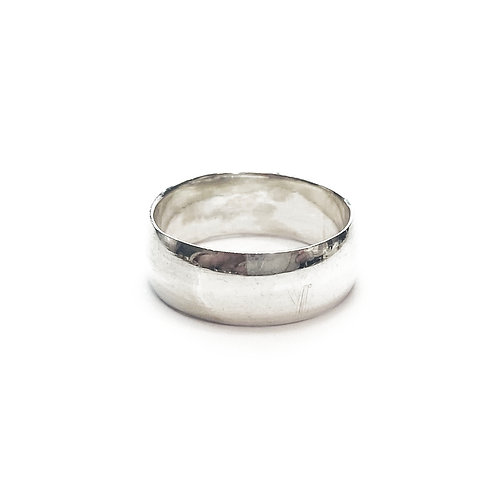 Sterling Silver 925 8mm D-Shaped Band Ring