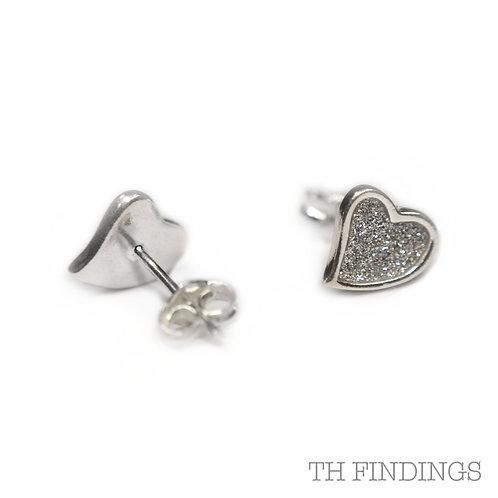 Sterling Silver 925 Diamond Cut Finish Heart Stud Earrings