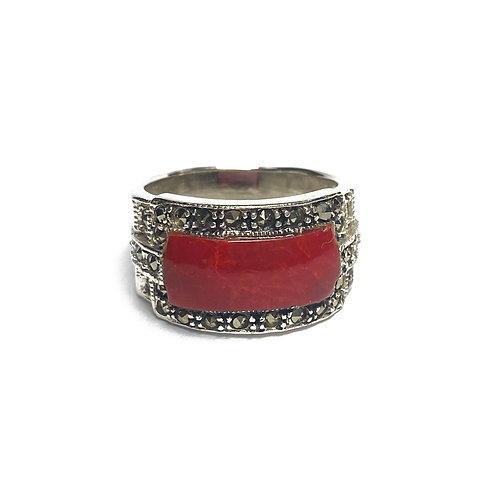 Sterling Silver 925 Antique Finish Red Jasper Ring
