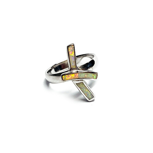 Sterling Silver 925 Iridescent Opal Ribbon Ring