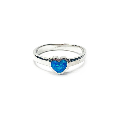 Synthetic Opal Heart Ring
