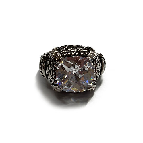 Sterling Silver 925 Size O Antique Finish CZ Ring