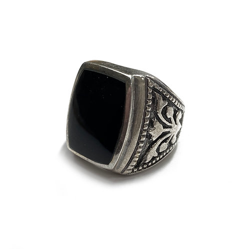 Sterling Silver 925 Size N Antique Finish 17mm Onyx Ring