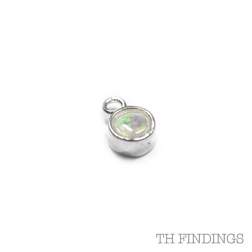 Sterling Silver 925 Opal Coloured Cubic Zirconia October Birthsto