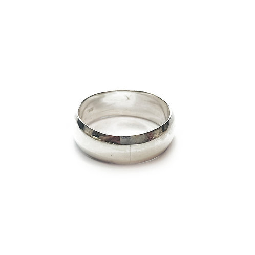 Sterling Silver 925 7mm D-Shaped Band Ring