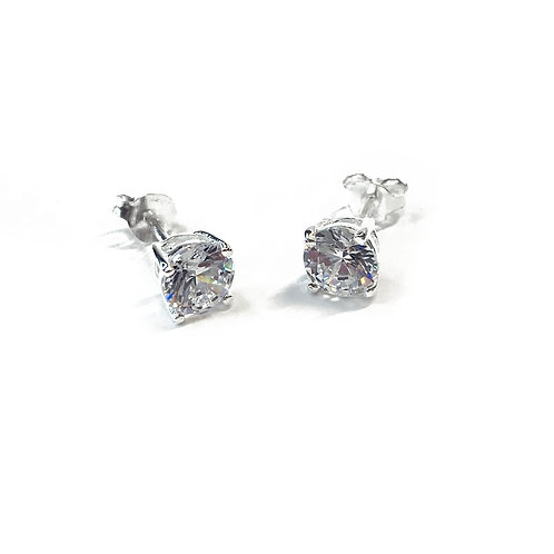 Sterling Silver 925 6mm CZ Boxed Studs