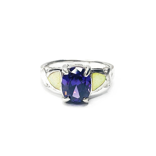 Synthetic Opal & Purple CZ Ring