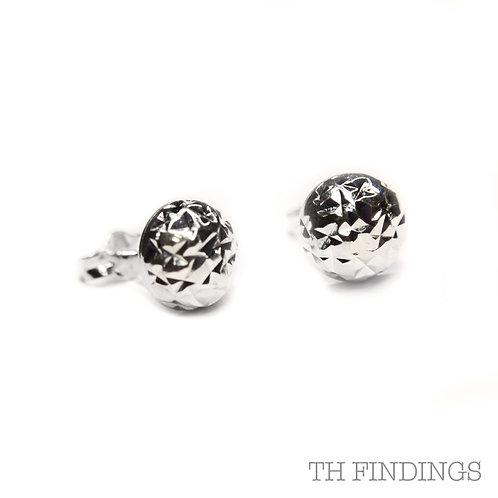 Sterling Silver 925 Diamond Cut Dome Earstuds