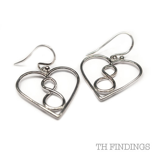 Sterling Silver 925 Rhodium Plated Infinity Heart Earrings