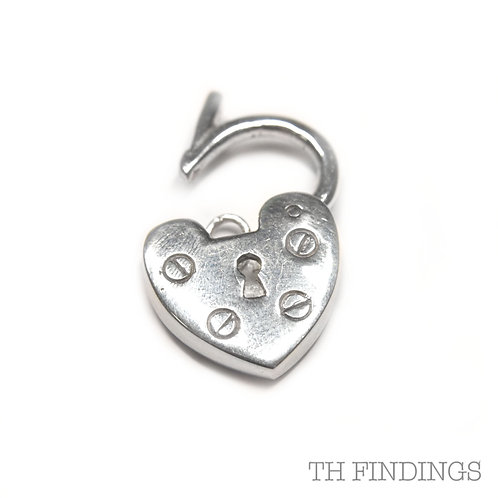 Sterling Silver 925 Large Heart Shaped Plain Padlock