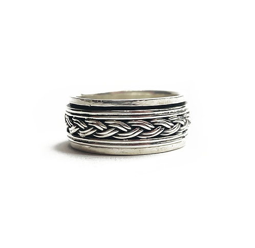 Sterling Silver 925 Antique Braided Spinner Ring