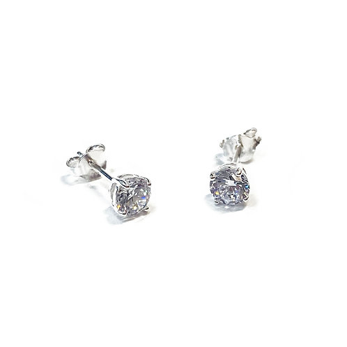 Sterling Silver 925 5mm CZ Boxed Studs