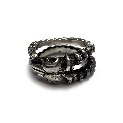 Sterling Silver 925 Size R Antique Finish Rams Skull Ring