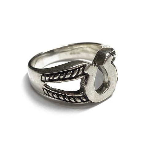 Sterling Silver 925 Size R Antique Finish Horseshoe Ring