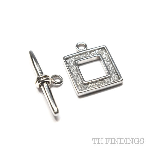 Sterling Silver Square Toggle T-Bar Set