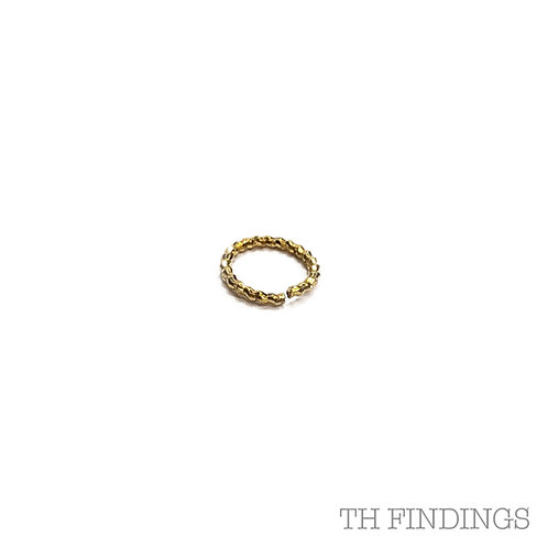 6.5mm Twisted Gold Plated Base Metal 1.2mm Wire Jump Ring