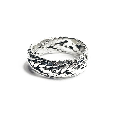 Sterling Silver 925 Antique Finish Textured Rope Ring