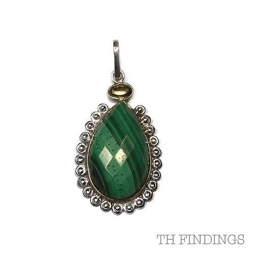 Malachite & Green Tourmaline, Semi Precious, Sterling Silver 925 Pendant