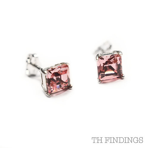 Sterling Silver 925 6mm Square Pink Cubic Zirconia Earstuds